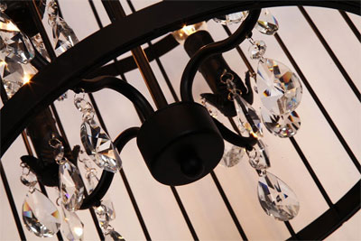 Close Up Of Birdcage Chandelier Hanging Crystals