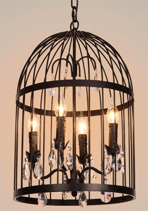 Metal Birdcage Chandelier with flame lightbulbs and crystal accents