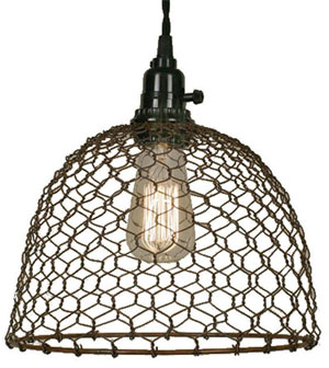 Chicken Wire Pendant Light Complete with Lampshade, Cord and Plug