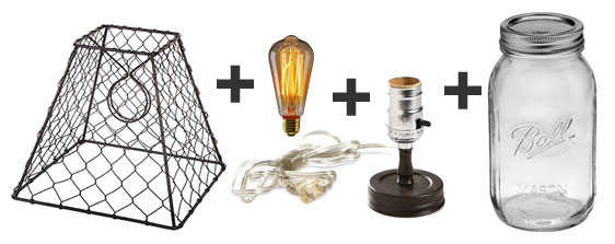 DIY Mason Jar Lamp Using Chicken Wire Lampshade, Edison Bulb, Light Kit and Mason Jar