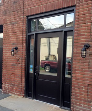 Industrial Cage Sconces by Front Door